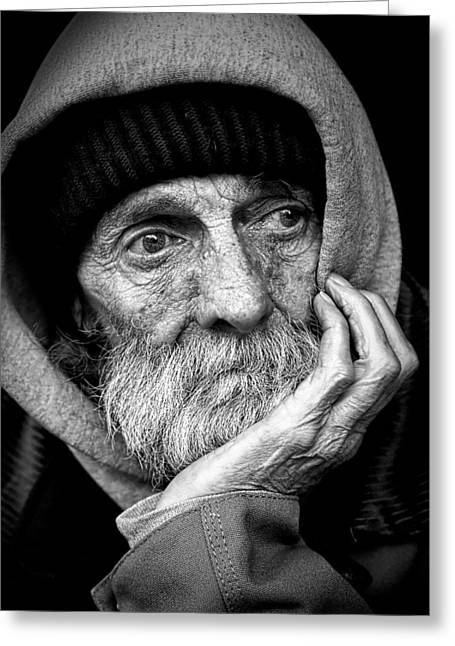 Chin On Hand Greeting Cards - Faces Of The Homeless Greeting Card by Leroy Skalstad