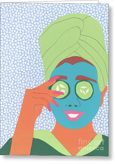 Bathrobe Greeting Cards - Facial Masque Greeting Card by Debra Bretton Robinson