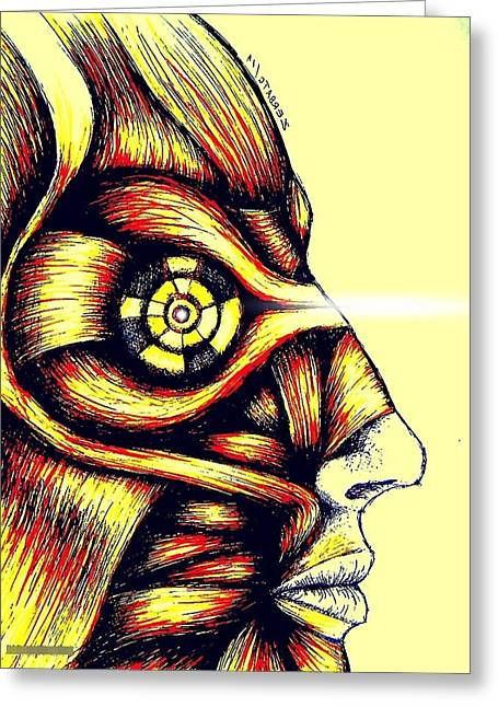 Facial Muscles Greeting Card by Paulo Zerbato