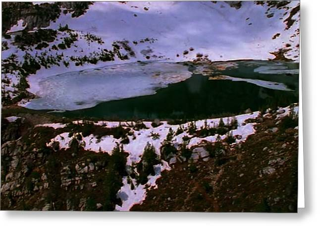 Blue Green Water Greeting Cards - Facinating American Landscape   Snow Mountains Mini Lakes Winter Storms Welcome trips to nature Greeting Card by Navin Joshi