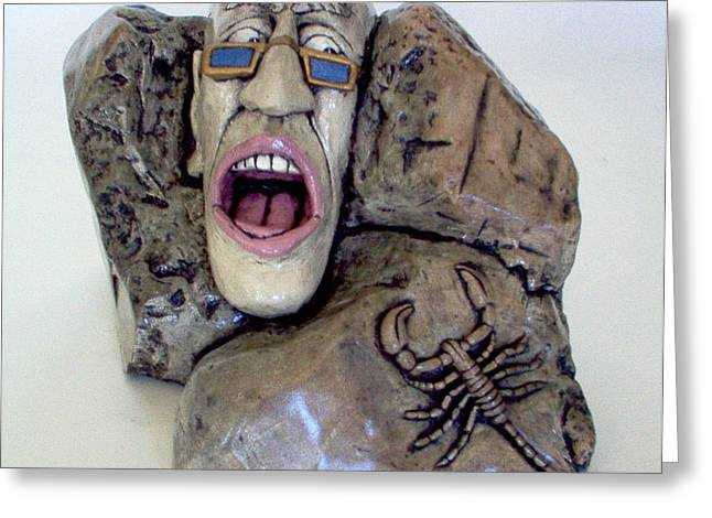 Soapstone Sculptures Greeting Cards - Facing our fears  Greeting Card by C W Hooper