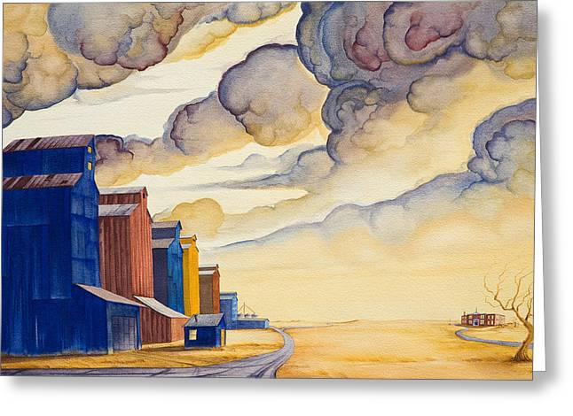 Grain Elevator Greeting Cards - Facing The Storm Greeting Card by Scott Kirby