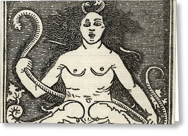 Medusa Greeting Cards - Facsmile Of The Figure Of Medusa From Greeting Card by Ken Welsh