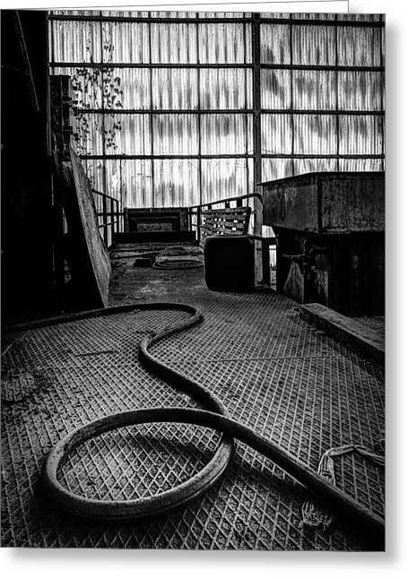 Abandoned Houses Greeting Cards - Factory hall tubing - industrial decay Greeting Card by Dirk Ercken