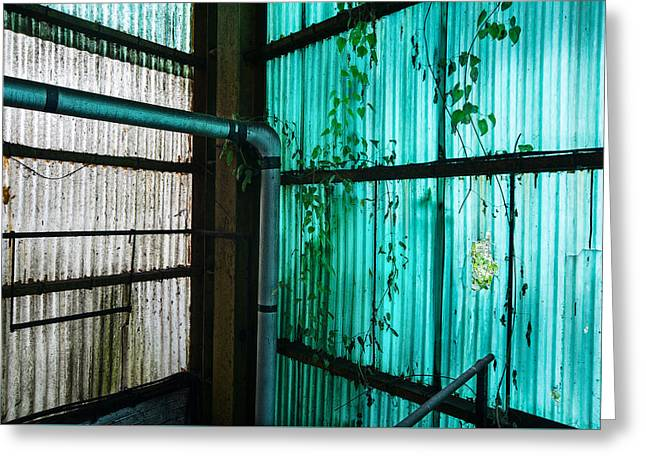 Abandoned Places Greeting Cards - Factory hall wall - industrial decay Greeting Card by Dirk Ercken