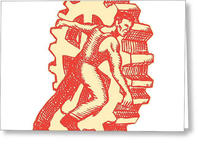 Cog Greeting Cards - Factory Worker Rolling Cog Wheel Etching Greeting Card by Aloysius Patrimonio