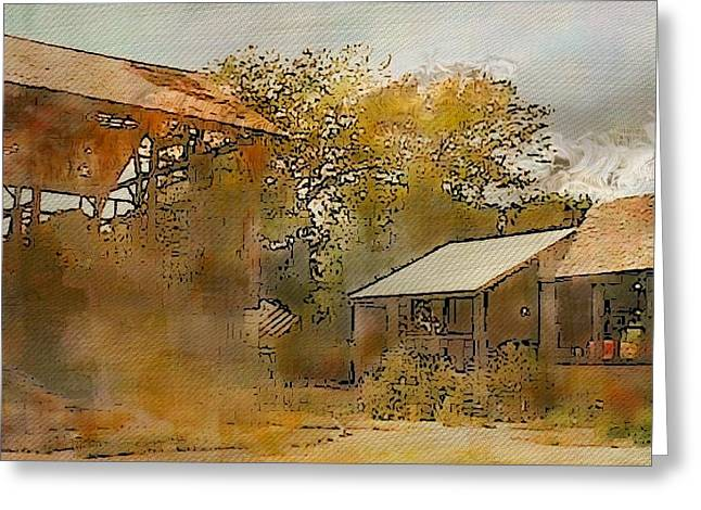 Outbuildings Greeting Cards - Faded Barnyard I Greeting Card by Ellen Cannon