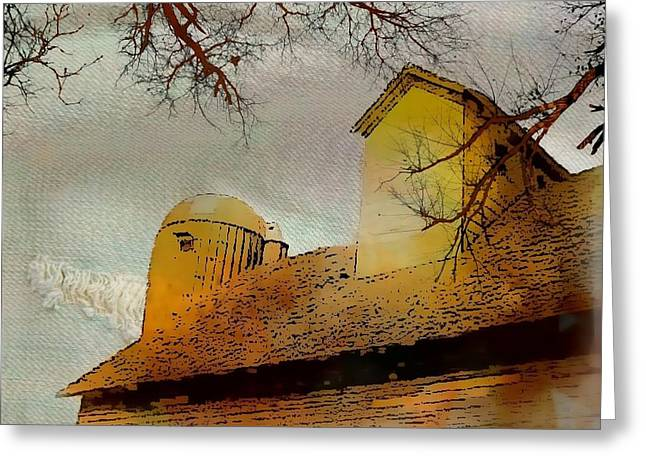 Outbuildings Greeting Cards - Faded Barnyard III Greeting Card by Ellen Cannon