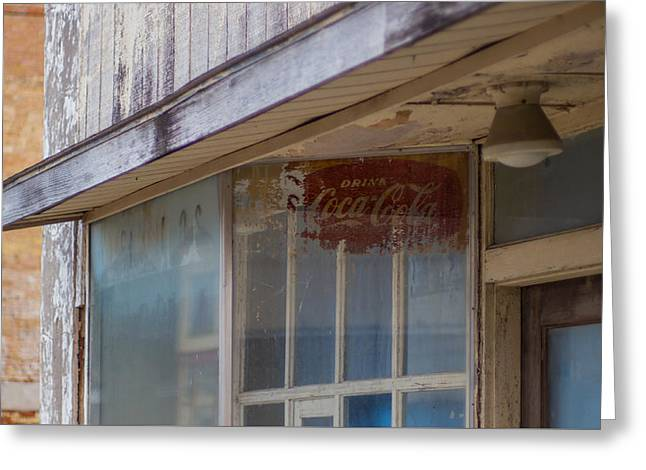 Grocery Store Greeting Cards - Faded Coca-cola sign 2 #VanishingTexas storefront Rosebud Greeting Card by Trace Ready