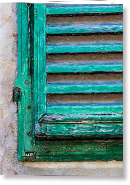 Tuscan Hills Drawings Greeting Cards - Faded Green Window Shutter Greeting Card by David Letts