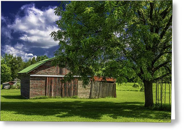 Outbuildings Greeting Cards - Faded Red Greeting Card by Joseph Yvon Cote