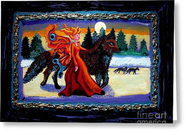 Moon Fairies Blue Snow Woman Greeting Cards - Faerie and Wolf Greeting Card by Genevieve Esson
