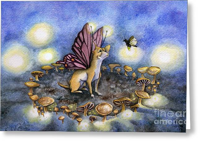 Circles Greeting Cards - Faerie Dog Meets in the Faerie Circle Greeting Card by Antony Galbraith