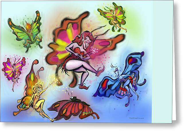 Faeries Greeting Card by Kevin Middleton