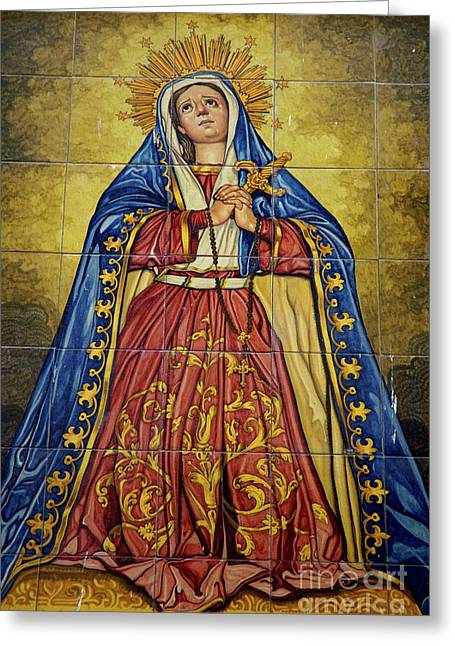Santa Cruz Art Greeting Cards - Faience mural depicting the Virgin Mary on a wall Greeting Card by Sami Sarkis