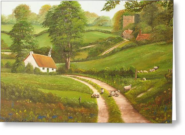 Cottage Greeting Cards - Failte romhat  Welcome Greeting Card by Charolette A Coulter