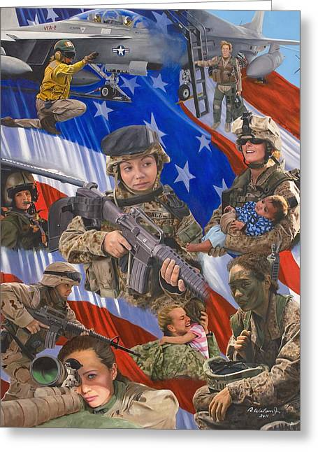 American Flags Greeting Cards - Fair Faces of Courage Greeting Card by Karen Wilson