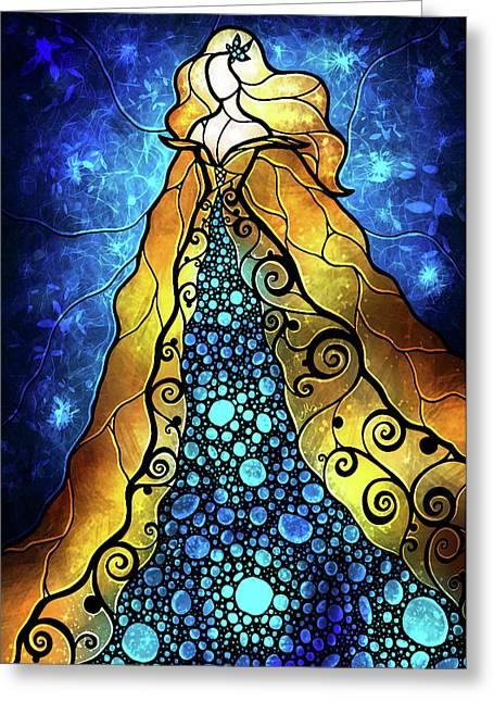 Vitrail Greeting Cards - Fair Ophelia Greeting Card by Mandie Manzano