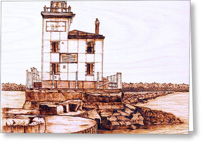 Ohio Pyrography Greeting Cards - Fair Port Harbor Greeting Card by Danette Smith