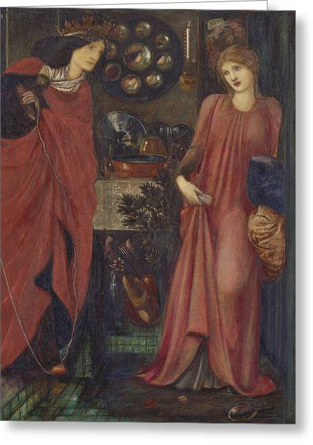 Old England Greeting Cards - Fair Rosamund and Queen Eleanor Greeting Card by Edward Burne-Jones