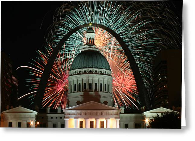 Fair St Louis Fireworks Greeting Card by William Shermer