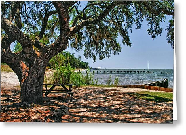 Crimson Tide Digital Art Greeting Cards - Fairhope Boat Launch Greeting Card by Michael Thomas
