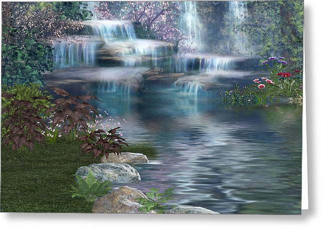 Entrance Door Greeting Cards - Fairies Hidden Lake Greeting Card by Digital Art Cafe