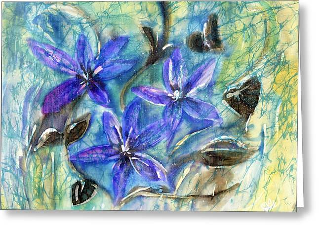 Magical Tapestries - Textiles Greeting Cards - Fairies in the Garden Greeting Card by Joanna White