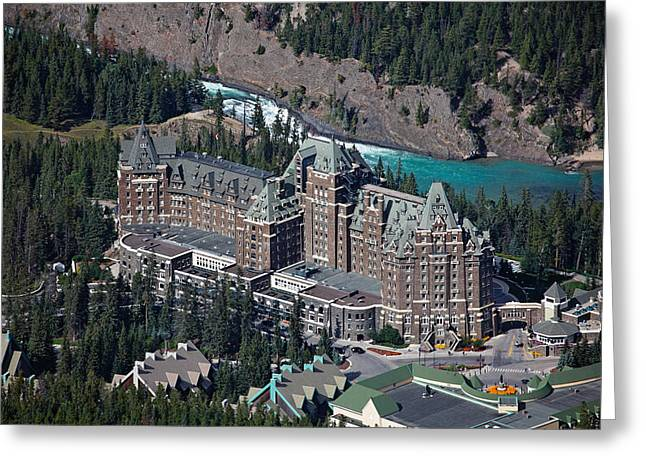 Chateau Greeting Cards - Fairmont Banff Springs Hotel with The Bow River Falls Banff Alberta Canada Greeting Card by George Oze