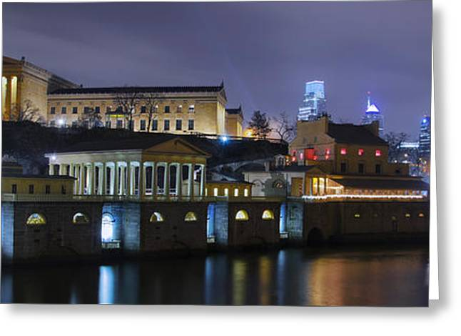 Greeting Cards - Fairmount Waterworks and Art Museum at Night Greeting Card by Bill Cannon