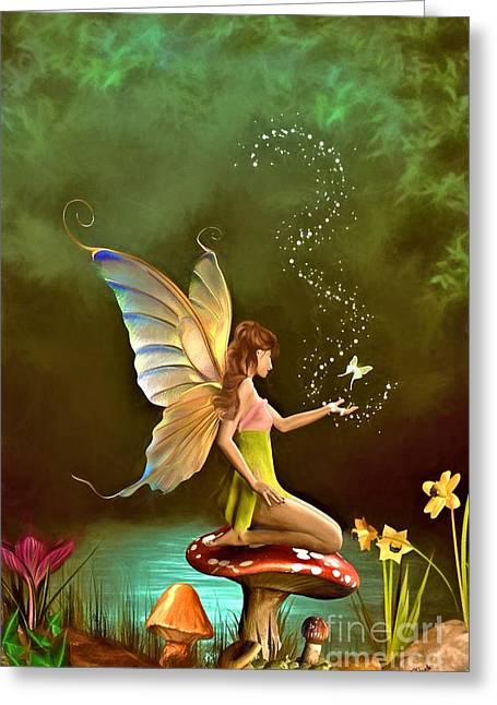 Angel Blues Greeting Cards - Fairy Greeting Card by AnaCB Studio