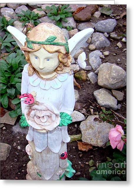 Best Sellers -  - Wooden Sculpture Greeting Cards - Fairy Child Greeting Card by Margaret Hamilton