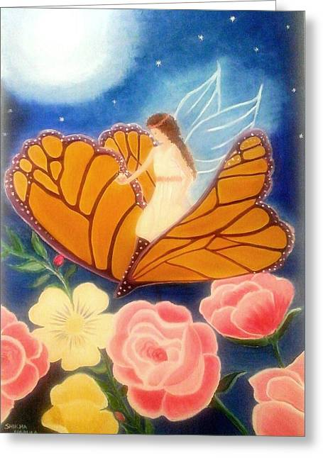 Night Angel Greeting Cards - Fairy Fantasy Greeting Card by Shikha Narula