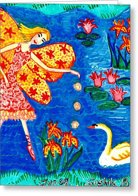 Irises Ceramics Greeting Cards - Fairy feeding swan Greeting Card by Sushila Burgess