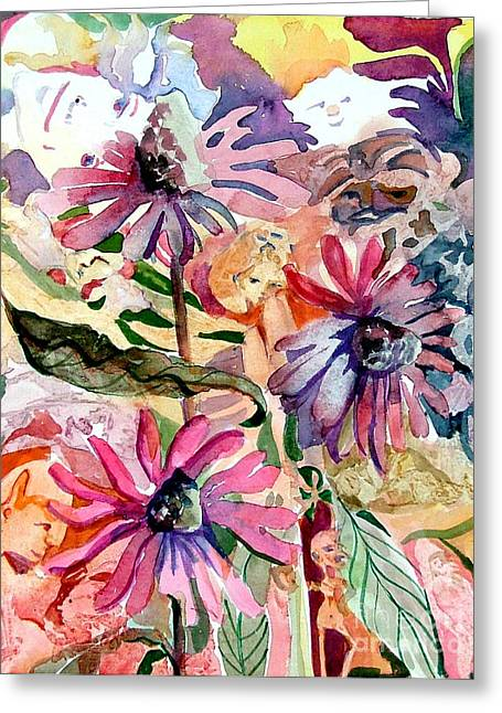 Fairies Drawings Greeting Cards - Fairy Land Greeting Card by Mindy Newman