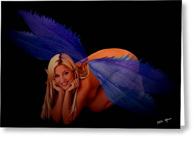 Tray Mead Greeting Cards - Fairy says Hi Greeting Card by Tray Mead