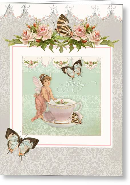 Fairy Teacups - Flutterbye Butterflies And English Rose Damask Greeting Card by Audrey Jeanne Roberts