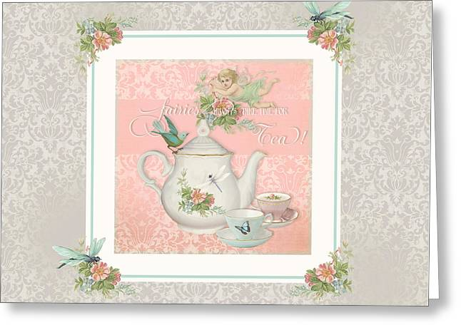Fairy Teacups - Tea Party For Two Greeting Card by Audrey Jeanne Roberts