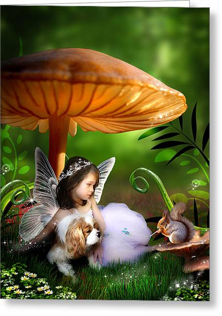 Puppies Digital Greeting Cards - Fairy Woodland Greeting Card by Julie L Hoddinott