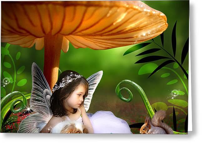 Fairy Woodland Greeting Card by Julie L Hoddinott