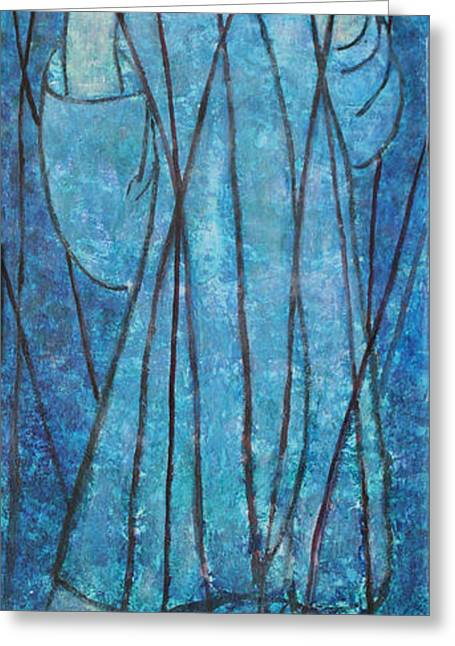 Courage Paintings Greeting Cards - FAITH at the Sea of Reeds Greeting Card by Mordecai Colodner