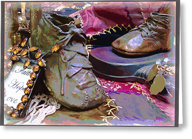 Crazy Quilt Greeting Cards - Faith Hope Love 3 Greeting Card by Kate  Word