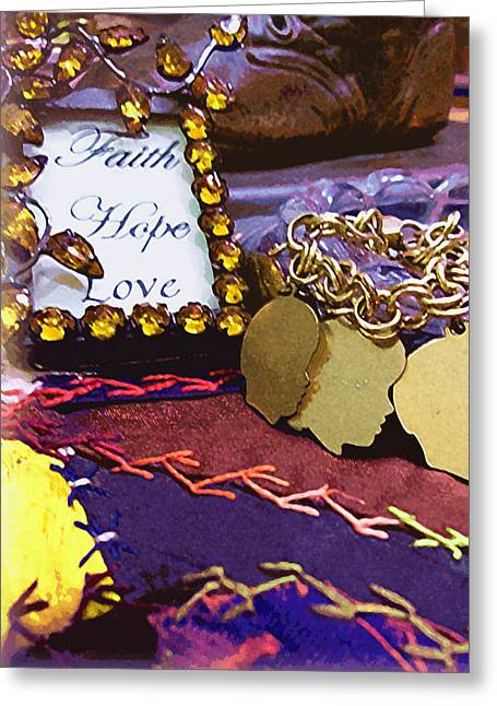 Crazy Quilt Greeting Cards - Faith Hope Love 4 Greeting Card by Kate  Word