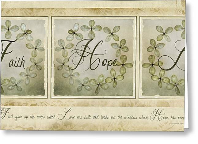 Mixed Media Photo Greeting Cards - Faith Hope Love Greeting Card by Robin-lee Vieira