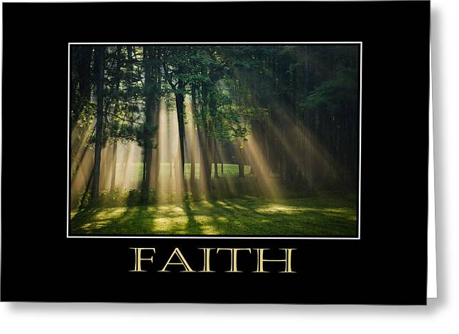 Rollo Digital Greeting Cards - Faith Inspirational Motivational Poster Art Greeting Card by Christina Rollo