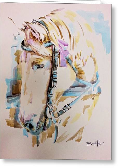 Watercolor. Equine. Bridle Greeting Cards - Faithful Greeting Card by Brett Heidi Peterson