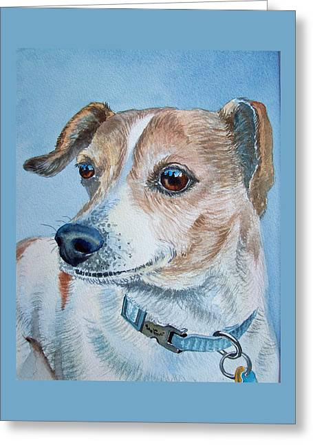 Beloved Dog Commission By Irina Sztukowski  Greeting Card by Irina Sztukowski