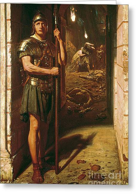Danger Greeting Cards - Faithful unto Death Greeting Card by Sir Edward John Poynter