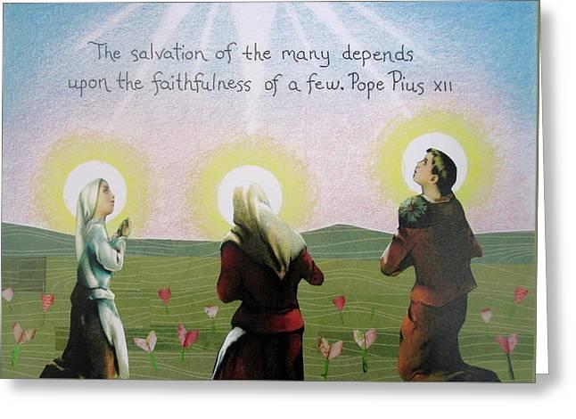 Knelt Mixed Media Greeting Cards - Faithfulness Greeting Card by Margie Leeper