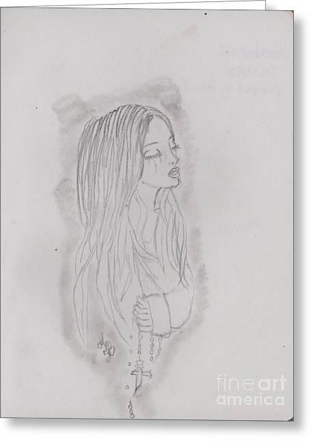 Rosary Drawings Greeting Cards - Faithless Greeting Card by Fiona Hilton